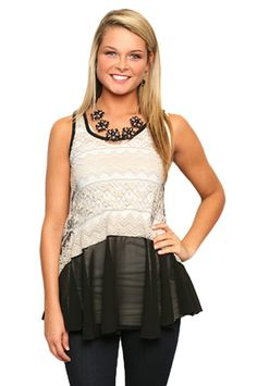 Give Into Me Tunic in Stone & Black