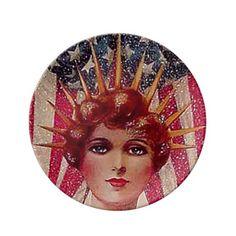 Vintage Flag Lady Liberty July 4th Porcelain Plate