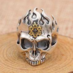 Men's Sterling Silver Flame Skull Ring