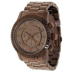 Need This! New Michael Kors Ladies Runway Oversized Brown Glitz Chronograph Watch MK5543 | eBay