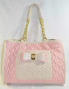 Betsey Johnson Handbag Be My Honey Buns Pink New Auth Nwt Puffed Heart… Betsy Johnson Purses, Betsey Johnson Handbags, Beautiful Handbags, Cute Purses, Canvas Shoulder Bag, Swagg, Handbag Accessories, Purses And Handbags, Wallets