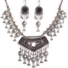Stunning Oxidized Silver Necklace Set  | Kaneesha