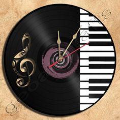 Piano Wall Clock, upcycled vinyl record
