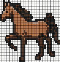Horse mustang cross stitch or perler bead pattern Melty Bead Patterns, Hama Beads Patterns, Beading Patterns, Beaded Cross Stitch, Cross Stitch Patterns, Image Pixel Art, Modele Pixel Art, Graph Paper Art, Horse Pattern