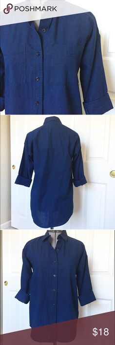 Working for the weekend! Old navy denim shirt. This is a Size XS TP. More like a S. Great as a tunic with leggings and boots. Roll the sleeves up or down. Beautiful dark denim shirt. Borrowed from the boys type of look! Old Navy Tops Button Down Shirts
