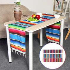 Cotton Mexican Party Serape Tablecloth Table Runner Rainbow DIY Wedding Party Table Runners Home Decor 3 Colors Mexican Party Decorations, Church Decorations, Wedding Decorations, Coffee Table Mat, Mexican Interior Design, Table Flag, Living Room Carpet, Table Runners, Festival Party
