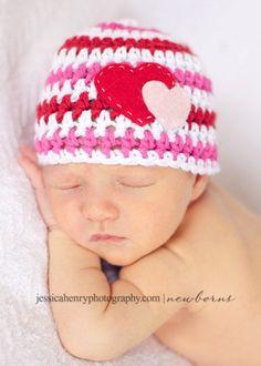 Valentine's Day Baby Girl Beanie Hat with Felt