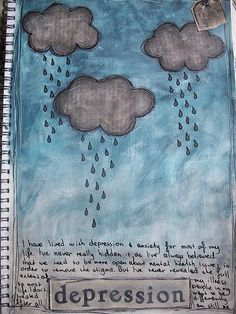 depression   Using acrylic paints, vintage book text and pil…   Flickr