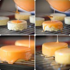 Pumpkin Mousse Cake (entremet) + white chocolate mirror glaze recipe. Great idea to make this fall.