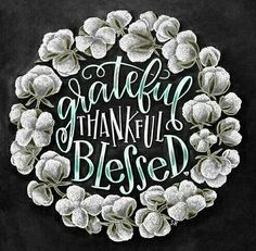 Chalk It Up, Chalk Art, Thankful And Blessed, Blessed Sign, Grateful, Wort Collage, Fall Subway Art, Chalkboard Print, Chalkboard Ideas