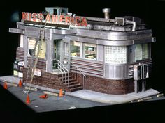 """A diner has been on my list to build forever... and this replica is so cool!! """"MISS AMERICA DINER"""" (2000) 13 x 17 1/2 x 18 1/4 inches. """"The classic 1942 stainless steel beauty is almost hidden away in a residential/commercial area of Jersey City."""""""