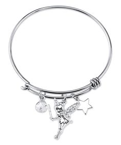 Loving this Crystal & Sterling Silver Tinkerbell Bangle on #zulily! #zulilyfinds