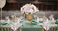 dinner party wedding decor mint gold turquoise pink