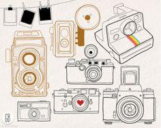 Vintage caméras numériques vectorielles clipart, carte de visite du photographe, cadre polaroid, télémètre, scrapbooking, bricolage, t-shirt, invitation.