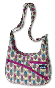 "KAVU Astoria-Lantern Stripe-Adjustable shoulder strap, main compartment with zipper closure, three exterior zip pockets, internal security zip pocket, internal organizing pockets and key clip.  Fabric: Cotton. Dimensions: 13"" x 10""."