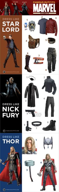 You're never too old to have a little fun on Halloween. But, we know not just any costume will do for you. So, we've got you covered with Famous Outfits – Marvel Edition. Get killer costumes just like your favorite Marvel superheroes—Nick Fury, Thor, and Star-Lord. #Thor #NickFury #StarLord