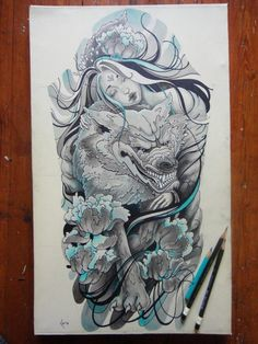 japanese wolf tattoo designs Images