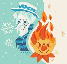 Inspired by my favorite holiday classic The Year Without A Santa Claus. Snow & Heat Miser.