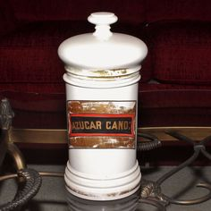 19th Century Paris Porcelain French  Apothecary Jar Marked AZUCAR CAND: