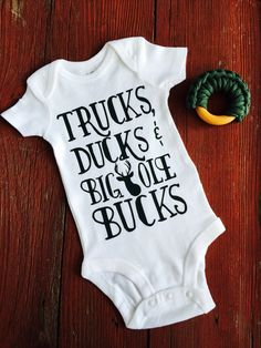 Trucks Ducks & Big Ole by LoveRainyDayDesigns Baby Boy Onesie. Trucks Ducks & Big Ole by LoveRainyDayDesigns Camouflage Baby, Cool Baby, Boy Onsies, Baby Shirts, Custom Baby Onesies, Baby Outfits, Newborn Outfits, Camo Baby Stuff, Camo Baby Boys