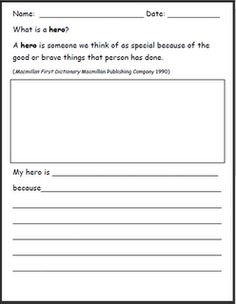 I would use this as a journal writing worksheet. Studnets could write about what they think a hero is and then keep it in their journals. Primary Teaching, Teaching Activities, Teaching Writing, 3rd Grade Social Studies, Teaching Social Studies, School Holidays, School Fun, What Is A Hero, Third Grade Writing