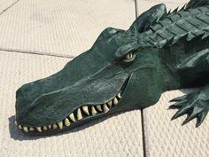 Paper maché alligator — face detail