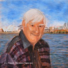 """Portrait of Frank Clarke (founder of Simply Painting, which is the show that got me started as an artist!). Acrylic on linen, 16""""x16"""". Given to him as a gift on his Australian tour :)"""