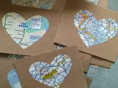 Vintage USA Road Map Paper Hearts
