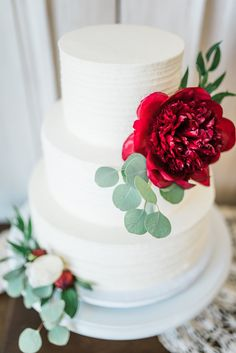 Simple 3 Tier White Cake l Bright Red Peonie l Eucalyptus l Perfect Wedding Cake l White Gold Greenery Ivory Blush l Trendy l Trends l Unique l Reception Set Up l Wedding Day Prep l Wrightsville Manor Venue l Wilmington, NC l Knot Too Shabby Events