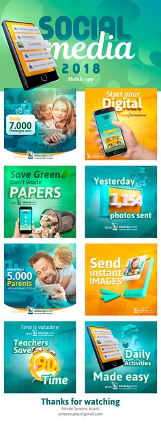 Social Media – Mobile App on Behance – Design is art Social Media Branding, Social Media Poster, Social Media Art, Social Media Digital Marketing, Social Media Banner, Social Media Template, Social Media Design, Social Media Graphics, Creative Advertising