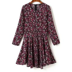 Dark Red Floral Print Three Quarter Sleeve Pleated Dress ($26) ❤ liked on Polyvore featuring dresses, three quarter sleeve dress, three quarter length sleeve dresses, purple dress, flower print dress and floral print dress