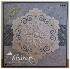 Both of these Christmas cards have been created with the same pattern which Ann designed especially for the Nellie Snellen die SGD. Card Patterns, Stitch Patterns, Embroidered Paper, Craft Cupboard, Embroidery Cards, Snowflake Cards, Parchment Craft, I Card, Cardmaking