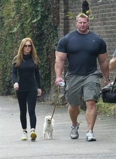 "this is too good. we've got ""the hulk"" with a small woman and a pom puppy"