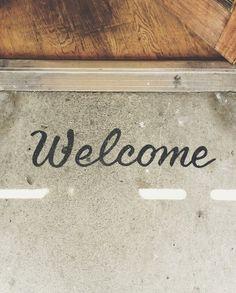 Spray paint welcome mat
