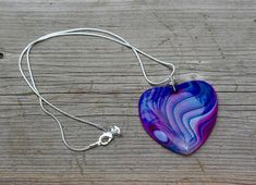 Purple Blue and Pink Heart   Dragon Vein Agate Stone Pendant