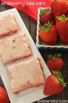 Strawberry Cake Bars on SixSistersStuff.com - these are like strawberry brownies!