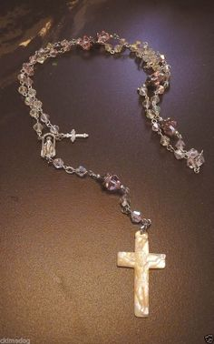 Genuine Swarovski Clear AB Crystal Silver Rosary W/ Mother Of Pearl Cross