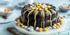Appelsinkake med mørk sjokoladekrem | Coop Mega Frisk, Mousse, Brownies, Food And Drink, Birthday Cake, Easter, Sweets, Baking, Breads