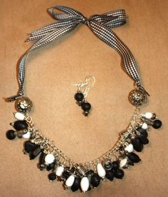Harlequin Black and White Ribbon Necklace and Earrings Set by TTE Designs on Art Fire $28 Black And White Ribbon, Ribbon Necklace, Earring Set, My Etsy Shop, Logo Google, Beads, Fire, Google Search, Jewelry