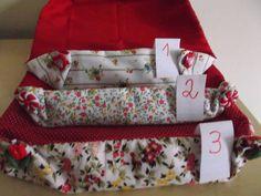 Cestinha multiuso em tecido 100% algodão/tricoline estampado. Enfeite com botões fantasia. Pode ser usada para diferentes utilidades, cestinha de maquiagem, suporte de toalhas no lavabo, bomboniere, cestinha de pão, enfim, bom gosto e beleza para qualquer ocasião. As estampas e o tamanho podem variar. Cada peça é única. 1 - cesta de flores miúdas e fundo vermelho liso - medidas: 27 cm de comprimento, 18 cm de largura e 5 cm de altura. botão fantasia de coração 2 -  cesta de flores miúdas e…