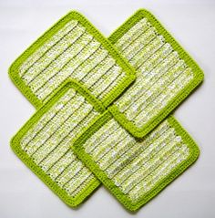 Soft Natural Dish Cloths  Hand Crocheted   Bright Spring Green and Yellow Twist