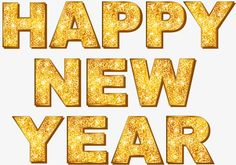 Gold Happy New Year English WordArt - New Year's Day PNG - new year, brand, christmas, gold, golden text