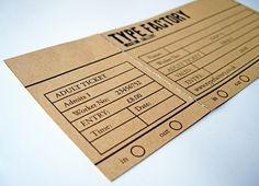 15 inspiring examples of ticket design | Graphic design | Creative Bloq Based on a factory theme, Patel developed these clocking in and out cards as a way of interaction for the visitors as they walk through the Type Factory.