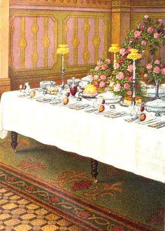 Dinner Table Setting.  From: 1861 Mrs. Beeton's Book of Household Management.  via Google Books  (PD-150)      suzilove.com