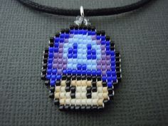 Tri-Colored Poison Mushroom Necklace, Seed Bead, Video Game Jewelry, Handmade, Pixelated, Nintendo, Super Mario, 8 Bit, Miniature Pixel Art