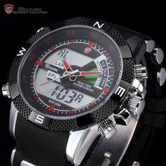 "Mens Shark Exotic Racing Sport Watch Digital & Analog ""Trident"""