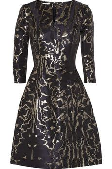 Oscar de la Renta Metallic jacquard dress   NET-A-PORTER