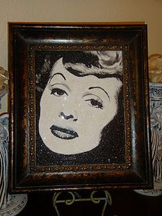 I Love Lucy! portrait using crushed german glass glitter by Stephani chandler  www.divineaddictions.com