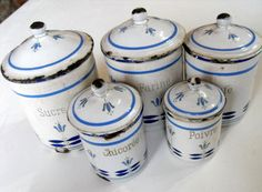 5 French Vintage Enamelware Cannisters by Vintagefrenchlinens, $175.00