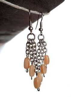 Saretta Bijoux #italian #handmade #jewelry -- Yellow - beige glass #earrings / #orecchini in vetro giallo - beige  -- 11,90 € --